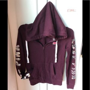 Victoria Secret pink maroon silver bling zip up XS
